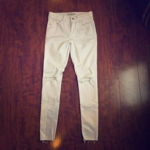 Topshop- White distressed moto jeans. Size 28